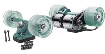 les roues d'un skateboard électrique